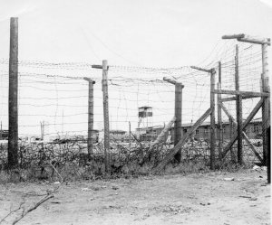 Unidentified prison compound in Germany, 1945 (Courtesy Ms. Nancy Beaumier, daughter of 371FG veteran Sgt. Tom Boliaris)