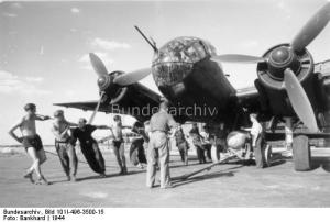 A Ju 188A-3 of Kampfgeschwader 6 (KG 6) being loaded with bombs. Western Europe, 1944