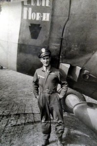 """1 St Lt Harry W. """"Pop"""" Strahlendorf poses with his P-47D Thunderbolt which he named """"Eddie Nor"""" (Courtesy Mr. Harry Strahlendorf, Jr.)"""